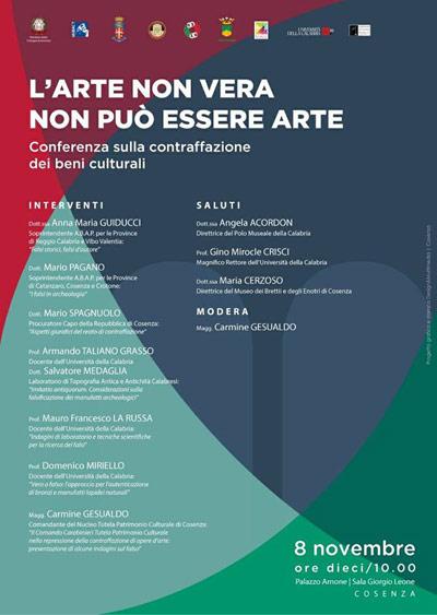 Conferenza sulla contraffazione dei beni culturali. Cosenza – Palazzo  Arnone Mercoledì 8 novembre 2017 – Ore 10.00 6dac7aaabc9